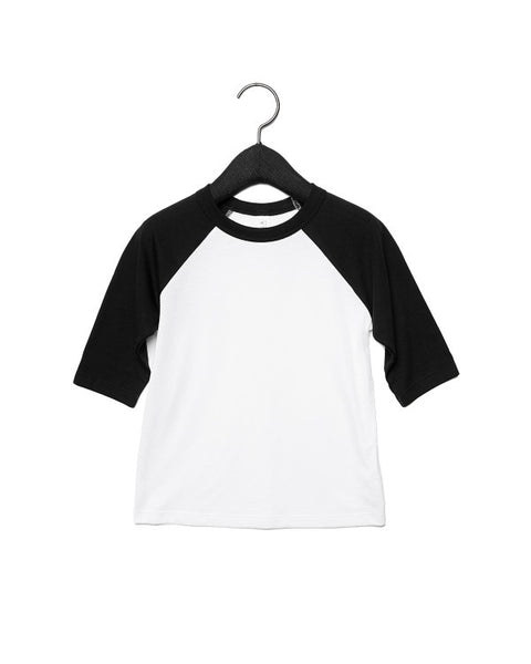 Bella + Canvas Toddler Raglan - Black Sleeve / White Body
