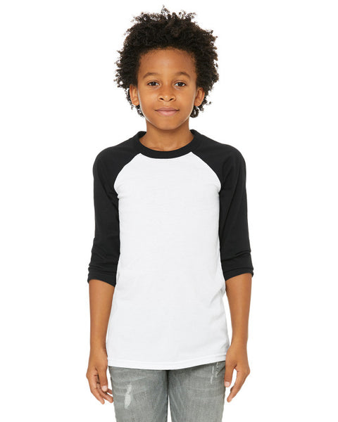 Bella + Canvas Youth Raglan - Black Sleeve / White Body
