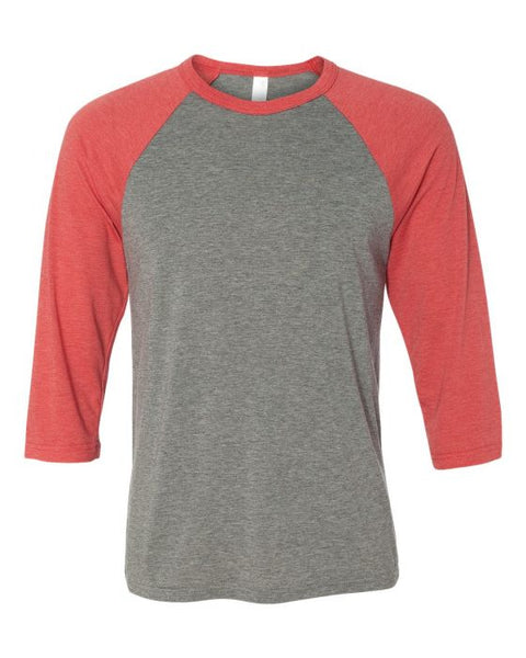 Bella + Canvas Raglan - Red Triblend Sleeve / Dark Grey Body