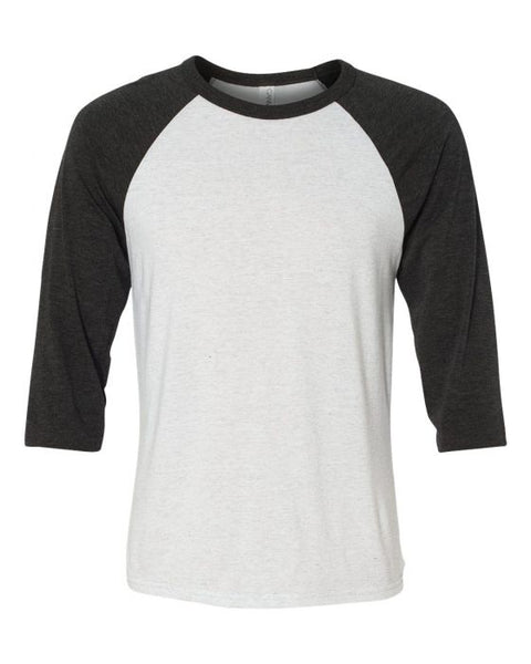 Bella + Canvas Raglan - Charcoal Black Sleeve / White Fleck Body