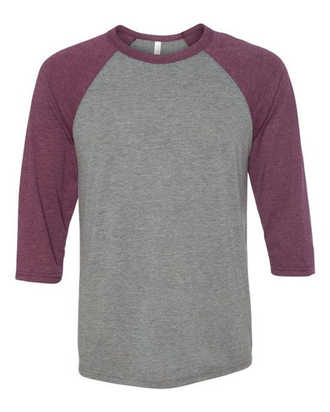 Bella + Canvas Raglan - Maroon Triblend Sleeve / Premium Gray Body