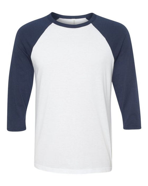 Bella + Canvas Raglan - Navy Sleeve / White Body