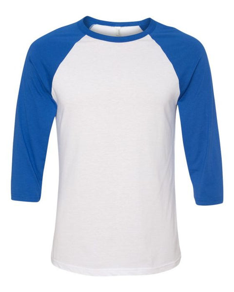 Bella + Canvas Raglan - True Royal Sleeve / White Body
