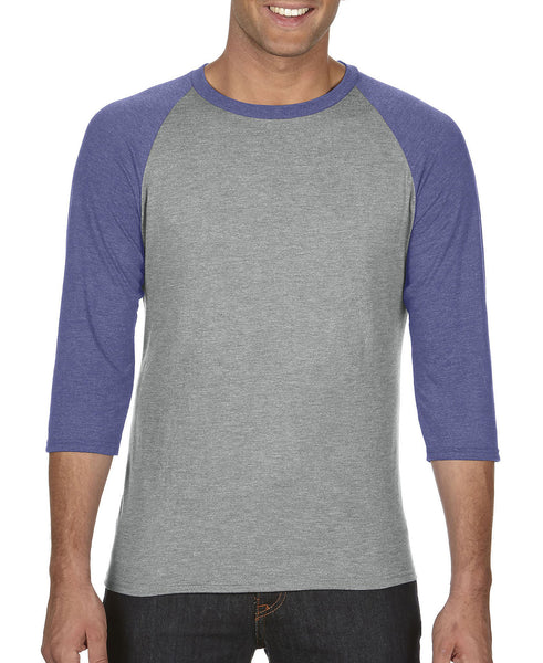 Anvil Adult Raglan - Heather Blue Sleeve / Heather Grey Body