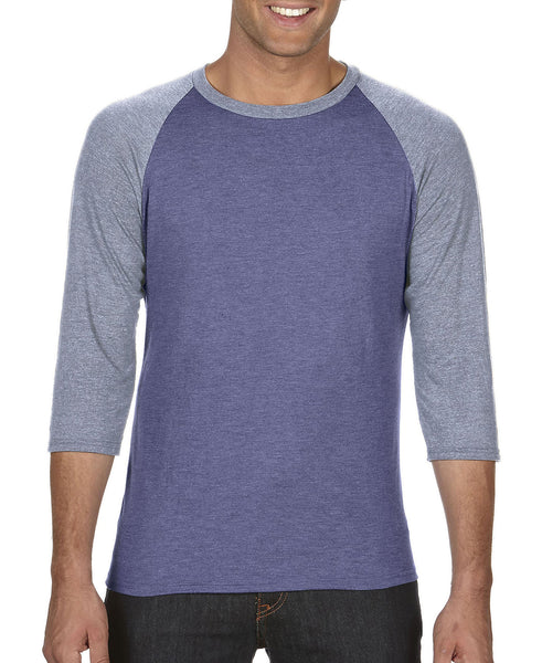 Anvil Adult Raglan - Heather Sleeve / Heather Blue Body