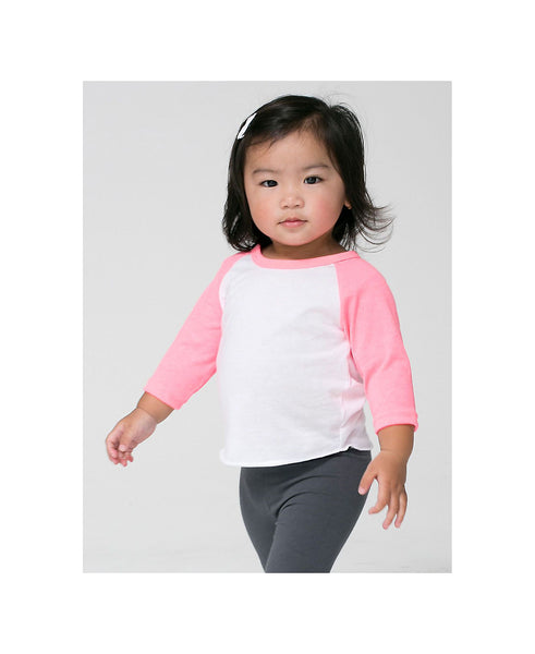 American Apparel Raglan - Neon Heather Pink Sleeve