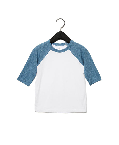 Bella + Canvas Toddler Raglan - Denim Sleeve / White Body