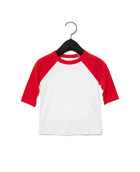 Bella + Canvas Toddler Raglan - Red Sleeve / White Body