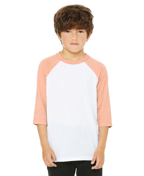 Bella + Canvas Youth Raglan - Peach Sleeve / White Body