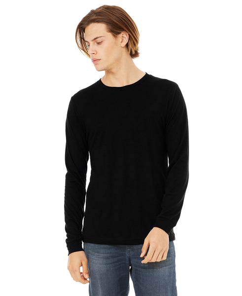 Bella + Canvas Unisex Adult Long Sleeve - Solid Black Triblend