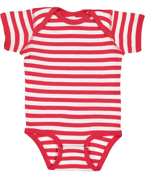 Short Sleeve Onesie - Red & White Stripe