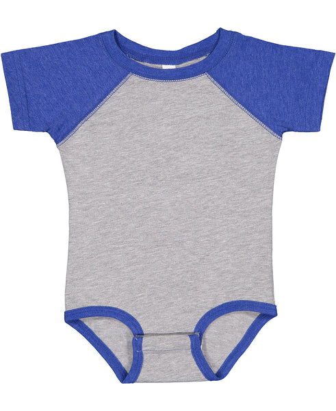 Rabbit Skins Infant Onesie Raglan - Vintage Royal Sleeve / Vintage Heather Body