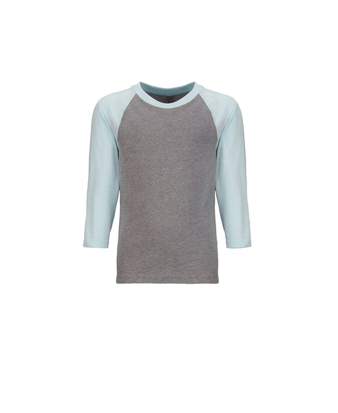 Next Level Youth Raglan - Ice Blue Sleeve / Dark Heather Body