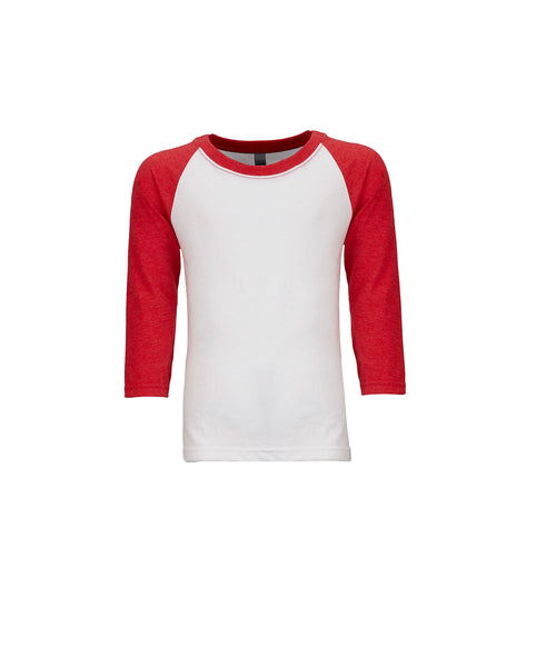 Next Level Youth Raglan - Red Sleeve / White Body
