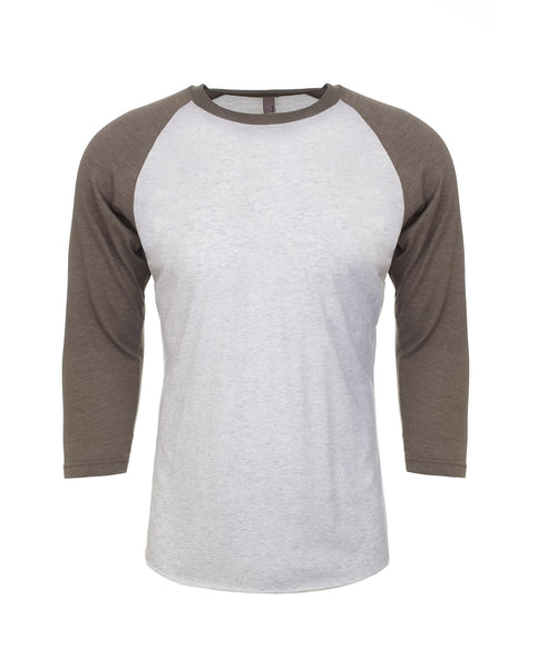 Next Level Raglan - Venetian Gray Sleeve / Heather White Body