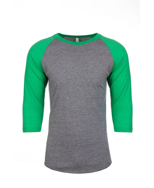 Next Level Raglan - Envy Green Sleeve / Premium Heather Body