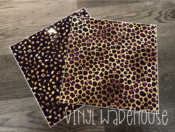 Purple & Gold Leopard - Printed HTV