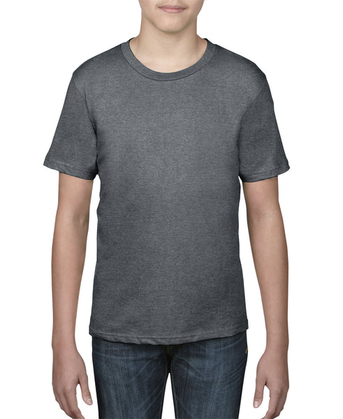 Anvil Youth Tee - Heather Dark Grey