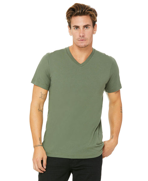 Bella + Canvas Unisex Vneck Tee - Military Green