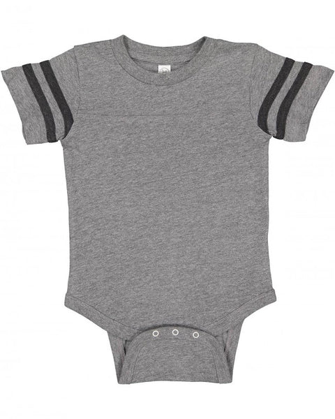 Football Raglan Onesie - Granite / Black Stripes