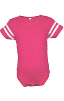 Football Raglan Onesie - Vintage Hot Pink / White Stripes
