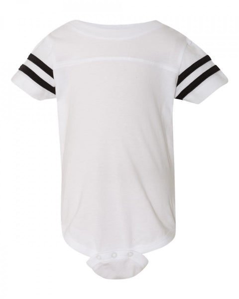 Football Raglan Onesie - White / Black Stripes