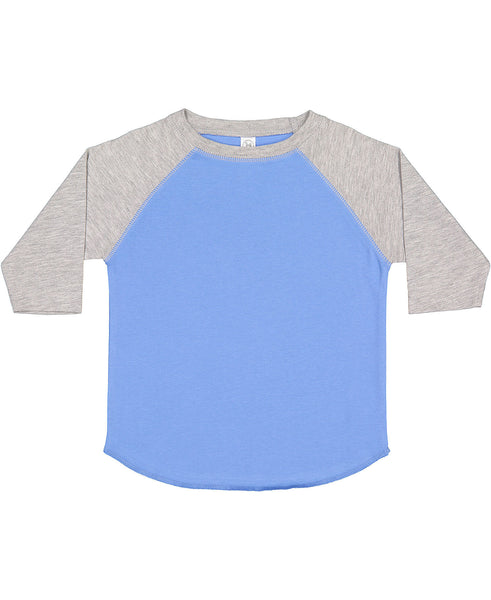 Rabbit Skins Toddler Raglan - Light Gray Sleeve/Carolina Blue Body