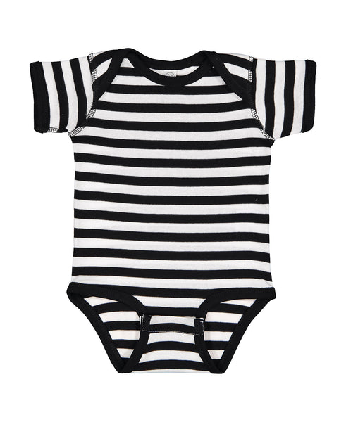 Short Sleeve Onesie - Black/White Stripe