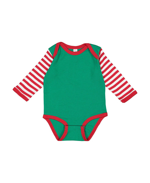 Long Sleeve Onesie - Christmas Stripes