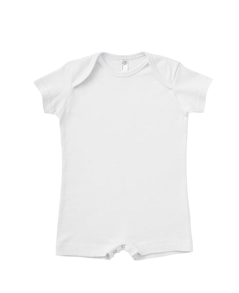Short Sleeve Infant Romper - White