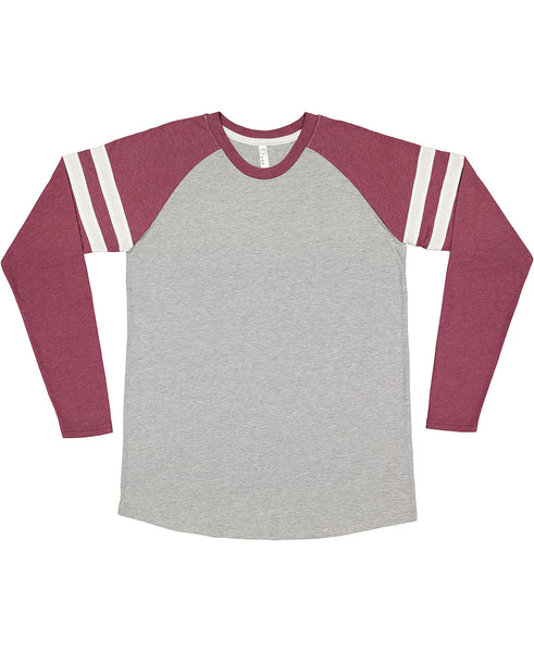 LAT Long Sleeve Football Tee - Burgundy Sleeve/Heather Body