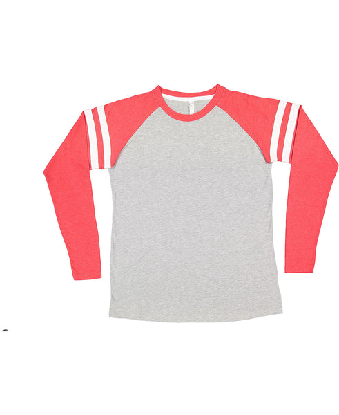 LAT Long Sleeve Football Tee - Red Sleeve/Heather Body