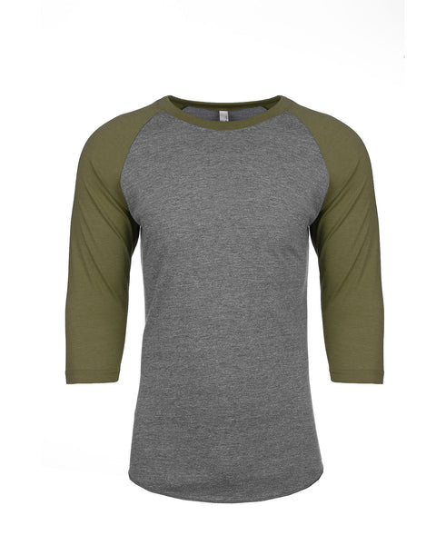Next Level Raglan - Military Green Sleeve / Premium Heather Body