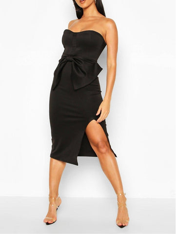 Black Bow Midi Women Dress - D'Scentsation