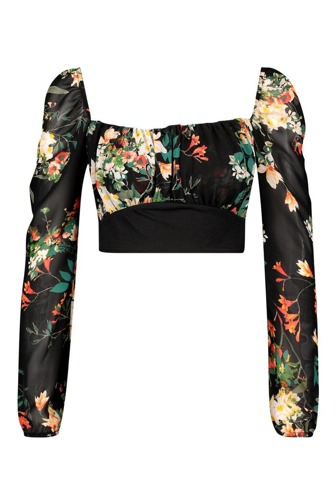 Mesh Puff Sleeve Floral Crop Women Top