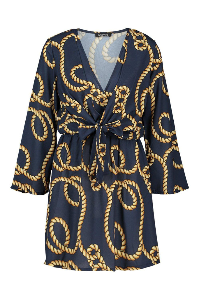 Navy Rope Print Knot Front Dress