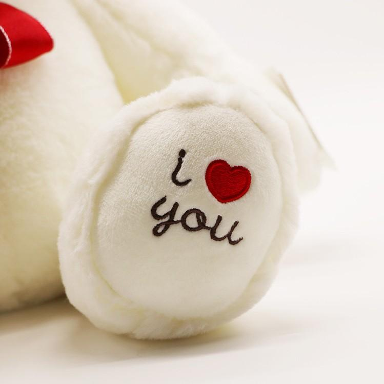 I Love You Teddy Bear Soft Plush Toy | Cute Cuddly  Valentines Gifts  [30cm White Teddys] - D'Scentsation
