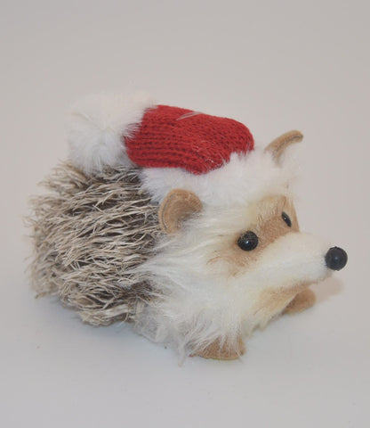 Faux Fur Hedgehog with Hat Ornament