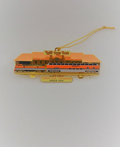 Royal Gorge Route Santa Fe Depot Heavy Brass & Lacquer Ornament