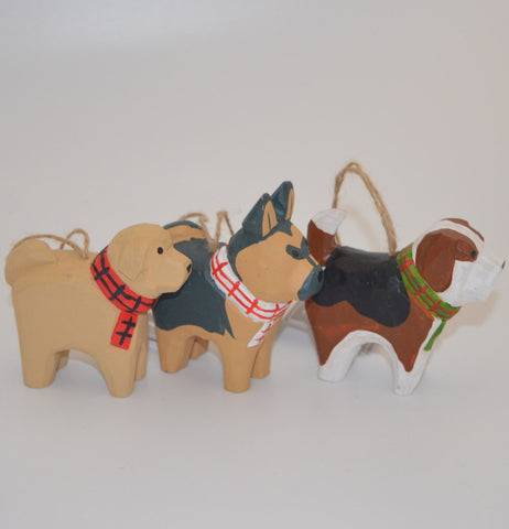 Wooden Dog with Plaid Scarf Ornament