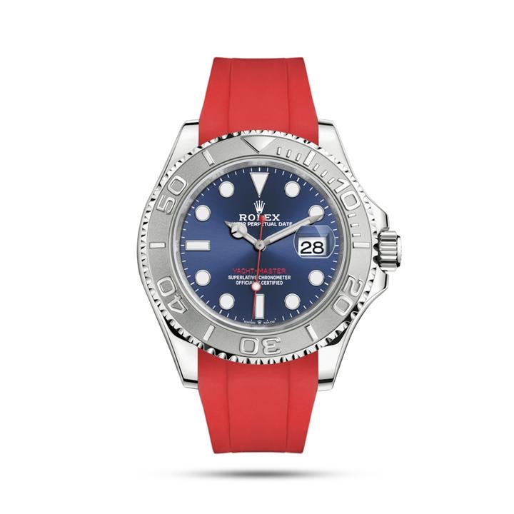 Integrated Rubber Strap For Rolex Yacht Master - Black 39mm Black/Red/Blue