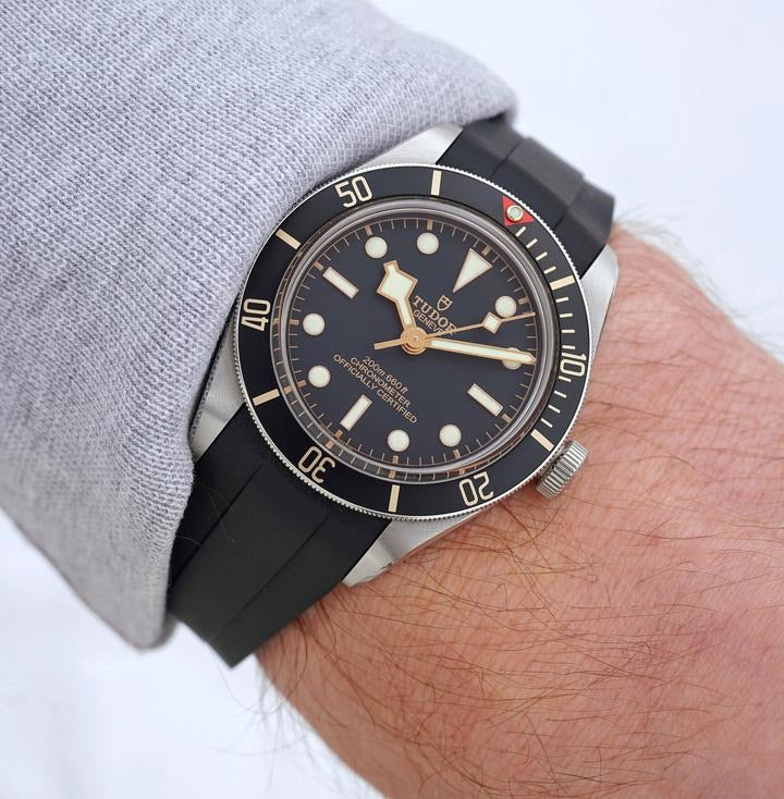 Integrated Rubber Strap For Tudor Black Bay Fifty Eight- Black/Blue