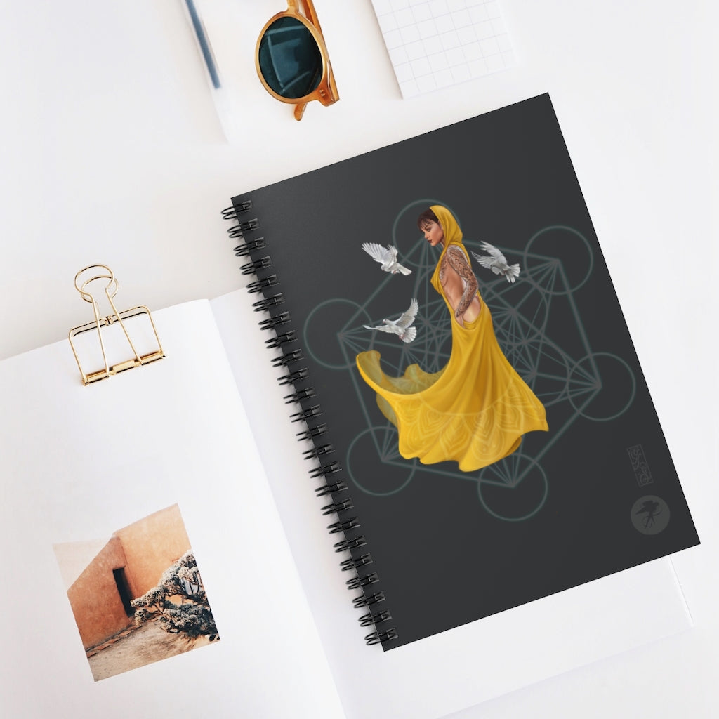'Quantum flow' digital art adorned Spiral Notebook - Ruled Line