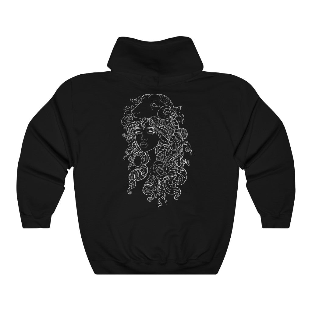 Neo Trad girl, tattoo illustration Unisex Heavy Blend™ Hooded Sweatshirt