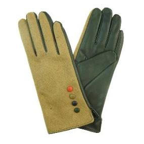 Gloves With Side Buttons in Beige & Black