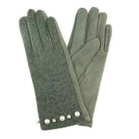 Gloves with Diamonds & Pearls in Grey