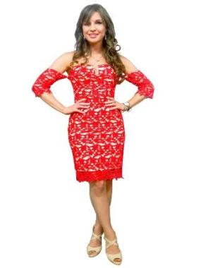 Off Shoulder Red Lace Cocktail Dress - GRAMERCY COUTURE