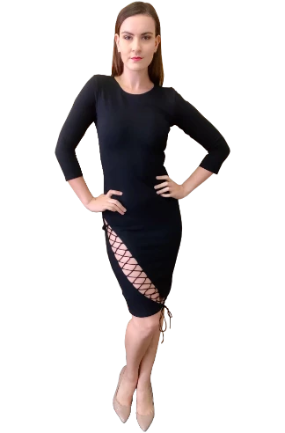 Tie Me Up Bodycon Dress in Black