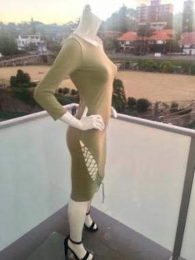 Tie Me Up Bodycon Dress in Light Khaki side view