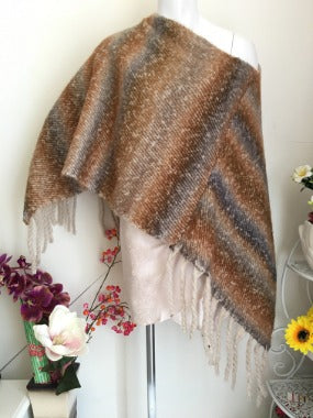 Poncho in Brown Mauve